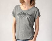 Women's T-Shirt, Mountain Tshirt,  Loose Tee, Outdoorsy, Dolman, Twin Peaks Design