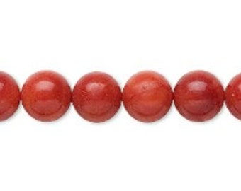 """Red Bamboo Coral Round Beads 7-8mm 16"""" strand NICE"""