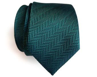 Dark teal silk necktie. Elegant woven herringbone silk tie. Gorgeous peacock blue and green shift in the light! Men's silk necktie.