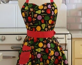 Retro Apron Vegetables on Black - BELLA