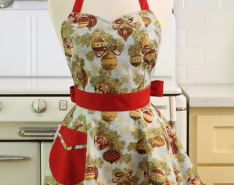 Retro Full Apron Christmas Ornaments on Light Blue BELLA Sweetheart Neckline