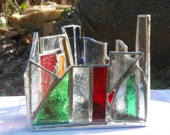 Red, Green, Clear Frosty Christmas Triangle Shaped Rainbow Themed Stained Glass Candle Holder OOAK Tealight holder Christmas Holiday Colors