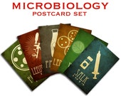 6 Microbiology Postcards - Microbiologists Science Postcards, Science Art, Vintage Microscope, Vaccine Syringe, Petri Dish Art, Nerdy Card
