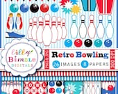 40% off BOWLING clipart boys invitation, birthday party clip art, pins, balls, digital papers INSTANT DOWNLOAD
