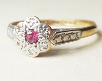Art Deco Diamond and Ruby Star Flower Ring, 18k Gold and Platinum Art Deco Engagement Ring Approximate Size US 6.5 / 6.75