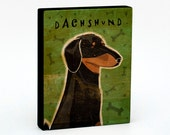 """Black and Tan Dachshund Art Block 4"""" x 5""""- Dog Art Print- Dachshund Print- Dog Wall Decor- Black and Tan Dachshund Gifts- for Dog Lovers"""