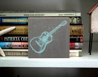 "Husband Gift- Guitar Art Block- 4"" x 4""- Guitar Print-Boyfriend Gifts for Musicians- Music Gift Ideas for Dad- Music Gifts Under 20"