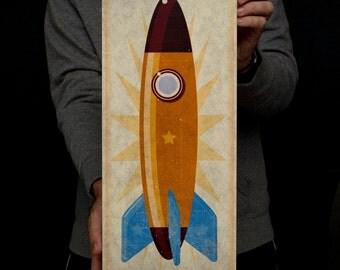 """Rocket Art Block- 8"""" x 18""""- Kids Wall Art- Boy Nursery Decor- Rocket Nursery- Rocketship Print- Art for Kids Room- Kid Decor- Sci Fi Gifts"""