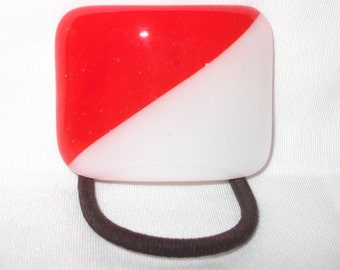 Glass Ponytail Holder, Red and White Fused Glass, Handmade Hair Accessories