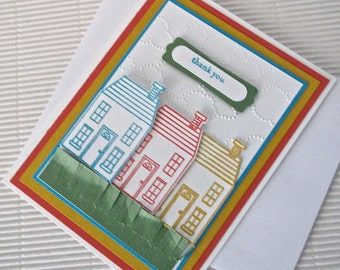 Thank you card handmade stamped heat-embossed dry-embossed colorful houses stationery greeting home living realtor corporate