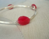 Stackable Silver Wire Wrapped Bangle Bracelet with Pinkish Red Faceted Stones