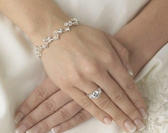Silver Crystal Wedding Bracelet, Agnes