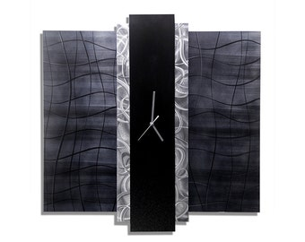 Charcoal Gray & Silver Abstract Metal Wall Clock -Hanging Decor Metallic Modern Functional Art-Handmade Timepiece- Time Eternal by Jon Allen