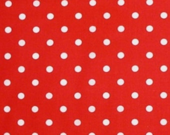 Red Polka Dot Fabric White Dots Cotton Quilting Dotted 2 yards 45 wide