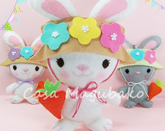 PDF Pattern - Bunny Ornament Felt Pattern - Bunny Soft Toy Sewing Pattern - DIY Hand Sewing Project - Instant Download