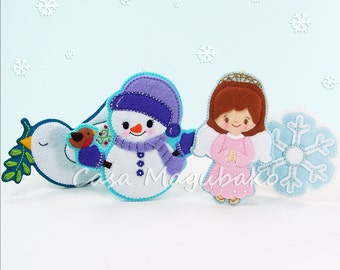 Christmas Ornament Collection Pattern - Dove, Snowman, Angel and Snowflake Sewing Pattern - PDF File Instant Download