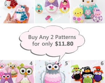 PDF Felt Patterns - Buy 2 Digital Sewing Patterns and Save - 6 Patterns to Choose from