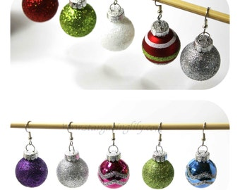Glass Tree Ornament Bulb Earrings! Adorable 7/8 inch and Bright Colored covered in glitter. Hypoallergenic Surgical Steel Hooks or Clip-on's