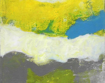 Just Outside Abstract Art Yellow Blue Grey Teal Landscape
