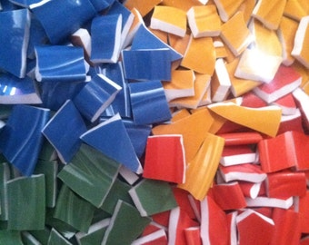 Mosaic Tiles Solid Color Mexican Mix Broken Plates Red Blue Yellow Green