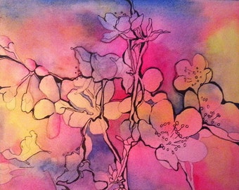 Pen and Ink Floral Watercolor