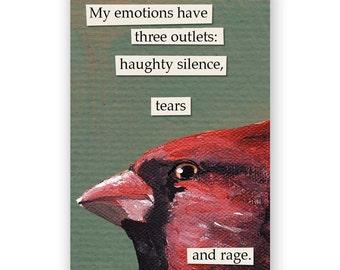 Emotions Magnet - Bird - Cardinal - Humor - Gift - Stocking Stuffer - Mincing Mockingbird
