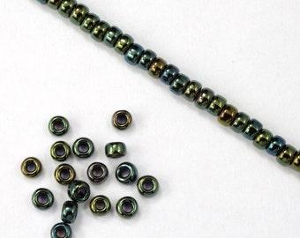 8/0 Metallic Green Iris Seed Bead (40 gram) #JFP002