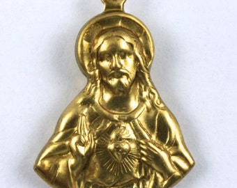 24mm Double-sided Raw Brass Jesus with Sacred Heart #151