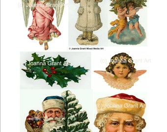 VINTAGE CHRISTMAS Images INSTANT Download Collage Sheet Mixed Media Art