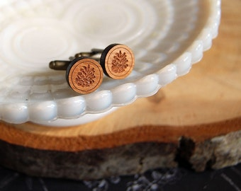 wooden etched pinecone cufflinks - antiqued brass - men's stocking stuffer