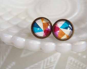 abstract patterned framed post earrings