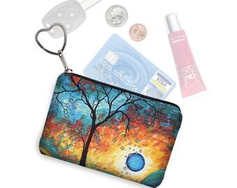 MadArt  Zipper Coin Purse Keychain Fob  Business Card Case Small Zipper Pouch Aqua Burn tree moon fabric blue orange bridesmaid gift RTS