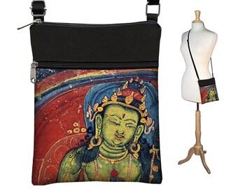 Small Cross Body Purse,  Boho Buddha Crossbody Bag, Sling Shoulder Bag Fits eReaders, Asian Art Bag,  jewel colors, red, blue, green RTS