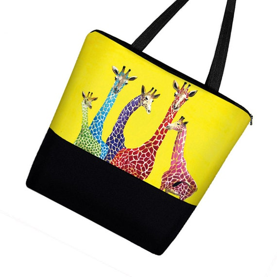 Clara Nilles Giraffe Large Tote Bag / Canvas Tote Bag w Zipper & Pockets /  Diaper Bag for Girl or Boy / Beach Tote / yellow  MTO