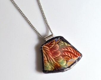 Broken China Jewelry Pendant - Feathers