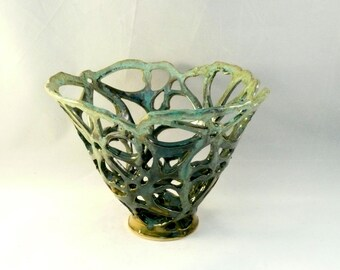 Lacy Lichen Cut Out Vase - Wedding Gift, Decorative Art Object - Artistic Fruit Bowl - Art Vessel - Green Vase - Springtime Home Decor