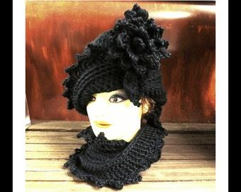 Crochet Hat Womens Hat, Crochet Infinity Scarf, Crochet Scarf,  Lauren 1920s Cloche Hat, Black Hat, Womens Scarves, Winter Hat, Winter Scarf