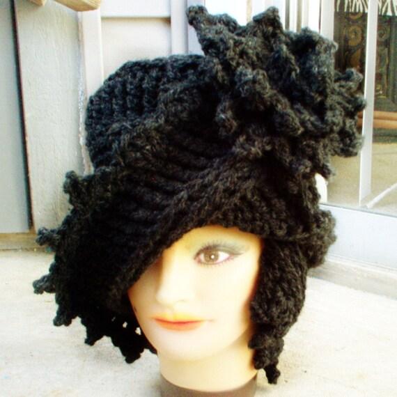 Charcoal Gray Crochet Hat Womens Hat Trendy, Cloche Hat 1920s, Women's Wool Hat, Charcoal Gray Hat, LAUREN 1920s Cloche Hat Crochet Flower