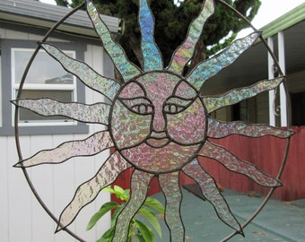 Sun Face, Clear Textured Iridescent Stained Glass,  Sun Catcher
