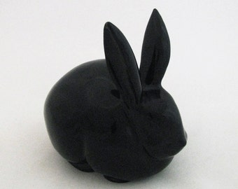 Black Cottontail Bunny Rabbit Ceramic Cotton Ball Holder for Bath Vanity or Dresser