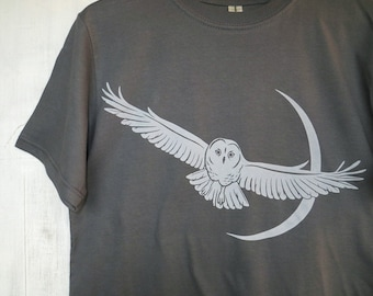 Mens Organic Cotton T Shirt - Mens Graphic Tee - Grey T Shirt - Owl and Moon TShirt - Organic Cotton Shirt - Screen Print Shirt