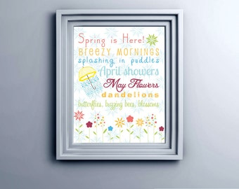 Spring Subway Art Printable Wall Art by BitsyCreations Instant Download