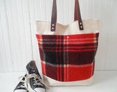 On hold for Katie M Pymt Plan Canvas Wool Tote Weekender Bag Leather Handles Vintage Plaid Wool