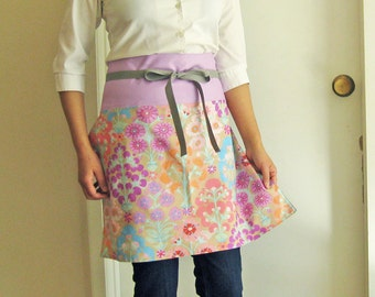 Apron lavender purple flowers on gray half apron reversible apron floral lilac pastel kitchen
