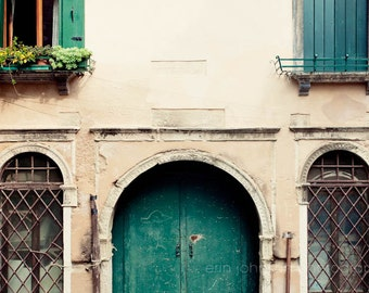 travel photography, door photograph, venice italy, architecture art, teal home decor, europe photography, V32