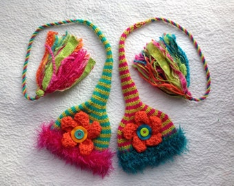Twin Girl Newborn Knit Baby Hats BaBY PHoTO PRoP 2 Long FLoWER Stocking Caps FuZZy BRiM TasseL Beanies RTS Pink LiME Teal ORaNGE Stripe Gift