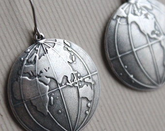 Around the World Earrings - Antiqued Silver - Surgical Steel Earwires