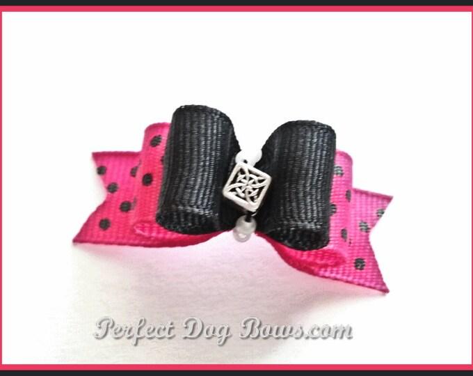 Fuschia Diva Dots Dog Bow for Yorkie, Shih Tzu, Poodles