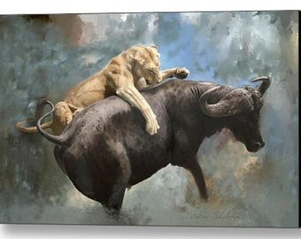 Wildlife Art Print - The Hunt Painting - Poster Print - Canvas Print with or without Paint Embellishment