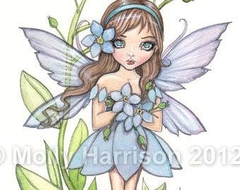 Forget Me Not - Flower Fairy Watercolor Illustration Fine Art Giclee Print 9 x 12 - Molly Harrison Fantasy Art